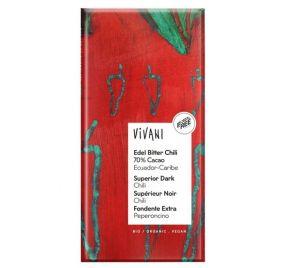 Vivani Hořká čokoláda s CHILLI BIO vegan - 100 g
