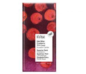 Vivani Hořká čokoláda s kousky BRUSINEK BIO vegan - 100 g