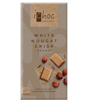 iChoc BIO vegan BÍLÁ NUGÁTOVÁ rýžová čokoláda - 80 g