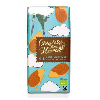 Upraženo - Chocolates-From-Heaven-BIO-mlecna-cokolada-s-karamelizovanymi-mandlemi-a-morskou-soli-37%-100g